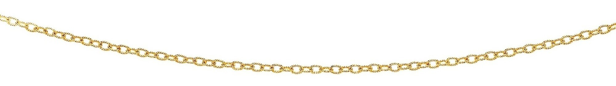 "24"" 14K Yellow Gold 2.5mm (1/10"") Diamond Cut Oval Textured Link Chain w/ Lobster Clasp"