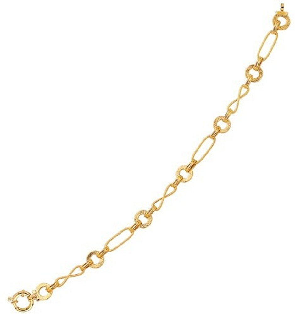 "18"" 14K Yellow Gold 7.45mm (1/4"") Oval Wire Oval Tube Textured Open Ring & 8 Like Diamond Cut Like Euro Link Necklace w/ Spring Ring Clasp"