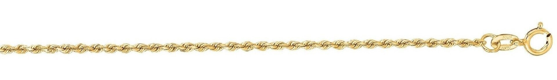 "22"" 14K Yellow Gold 1.25mm (0.05"") Polished Solid Diamond Cut Royal Rope Chain w/ Lobster Clasp"
