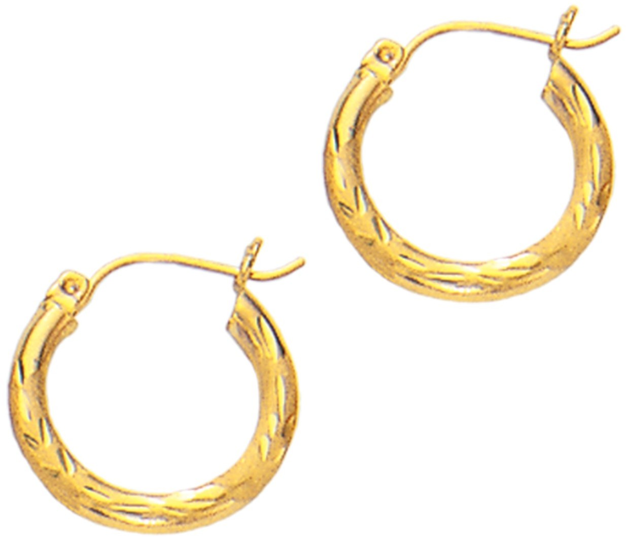 "14K Yellow Gold 3x15mm (0.12""x0.59"") Polished Diamond Cut Round Tube Hoop Fancy Earrings"