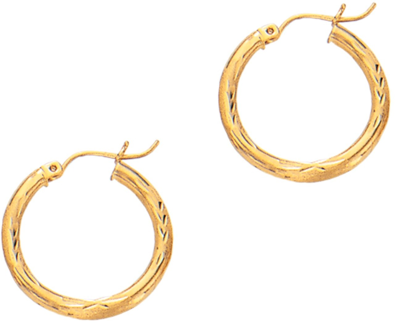 "14K Yellow Gold 3x20mm (0.12""x0.79"") Polished Diamond Cut Round Tube Hoop Fancy Earrings"