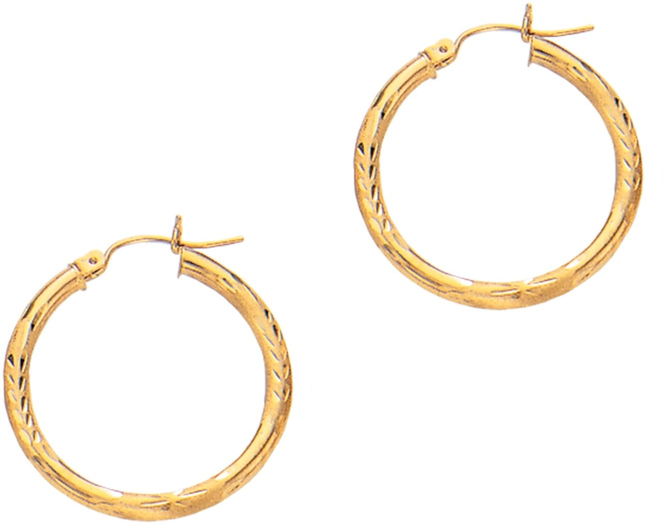"14K Yellow Gold 3x25mm (0.12""x0.98"") Polished Diamond Cut Round Tube Hoop Fancy Earrings"
