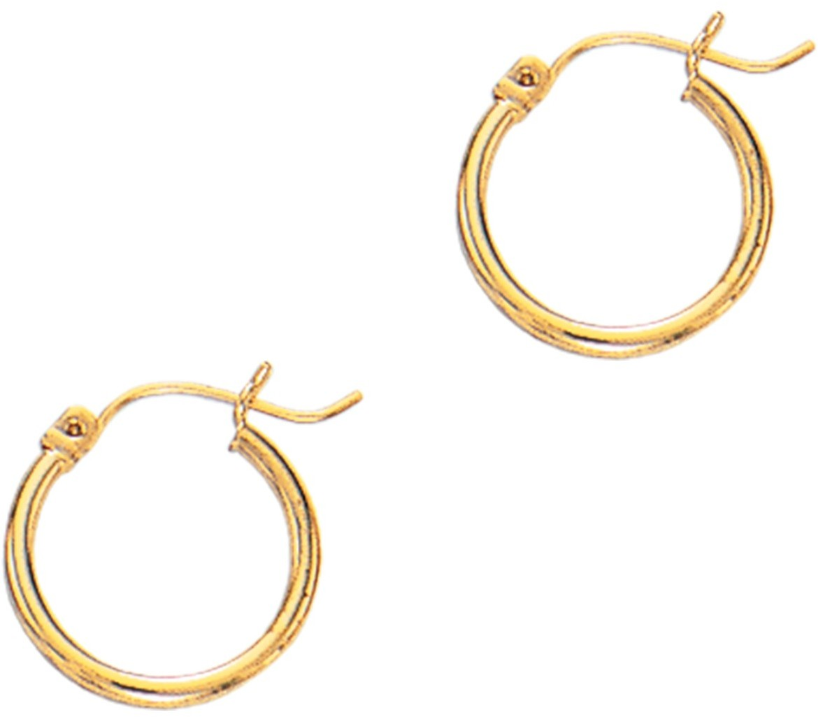 "14K Yellow Gold 2x15mm (0.08""x0.59"") Polished Round Tube Hoop Fancy Earrings"