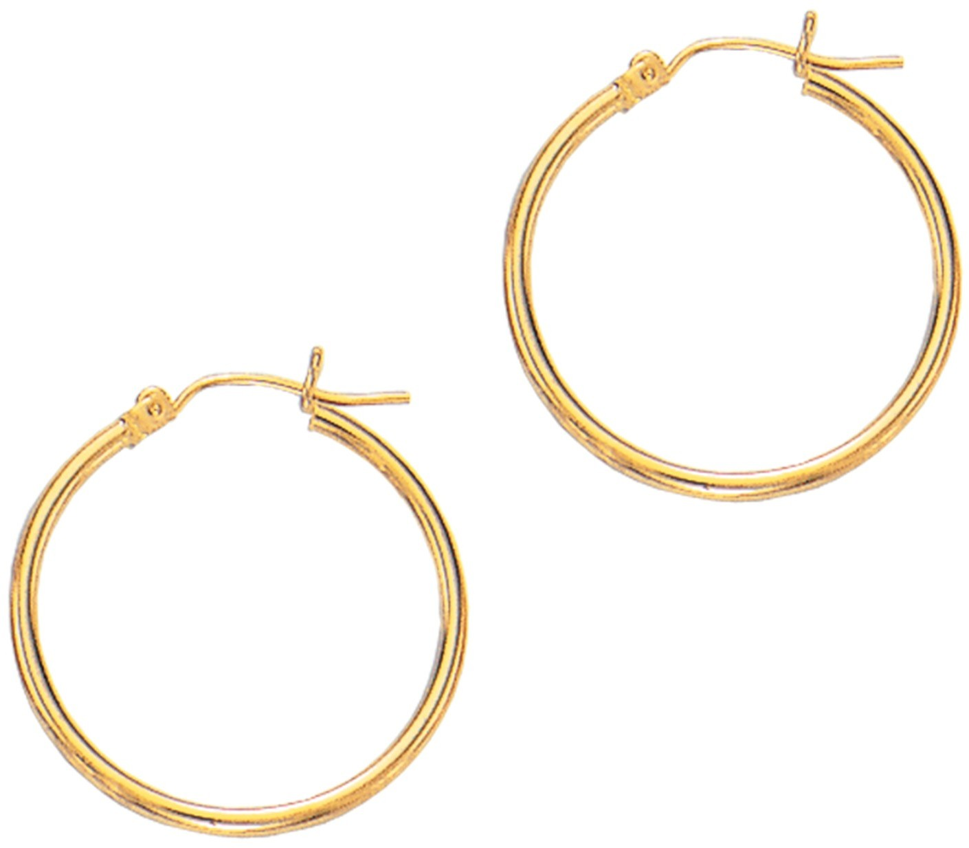 "14K Yellow Gold 2x25mm (0.08""x0.98"") Polished Round Tube Hoop Fancy Earrings"