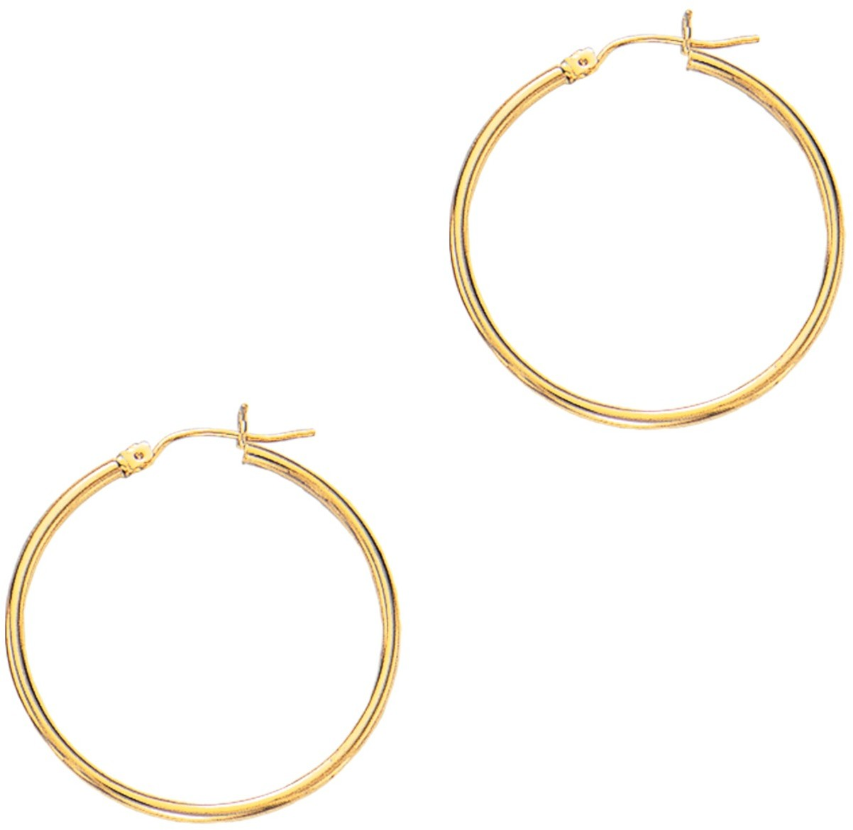 "14K Yellow Gold 2x30mm (0.08""x1.18"") Polished Round Tube Hoop Fancy Earrings"