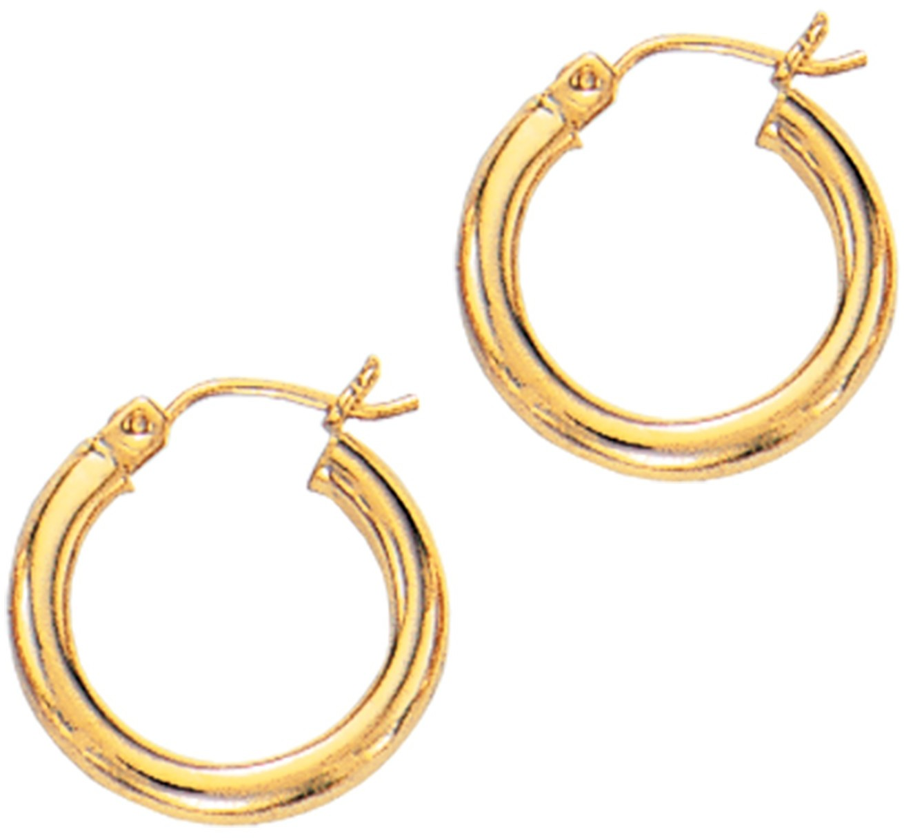 "14K Yellow Gold 3x15mm (0.12""x0.59"") Polished Round Tube Hoop Fancy Earrings"