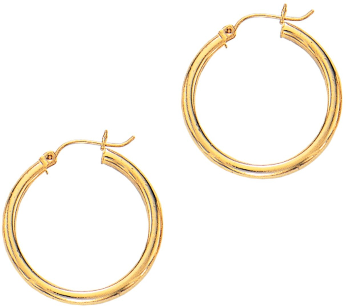 "14K Yellow Gold 3x25mm (0.12""x0.98"") Polished Round Tube Hoop Fancy Earrings"
