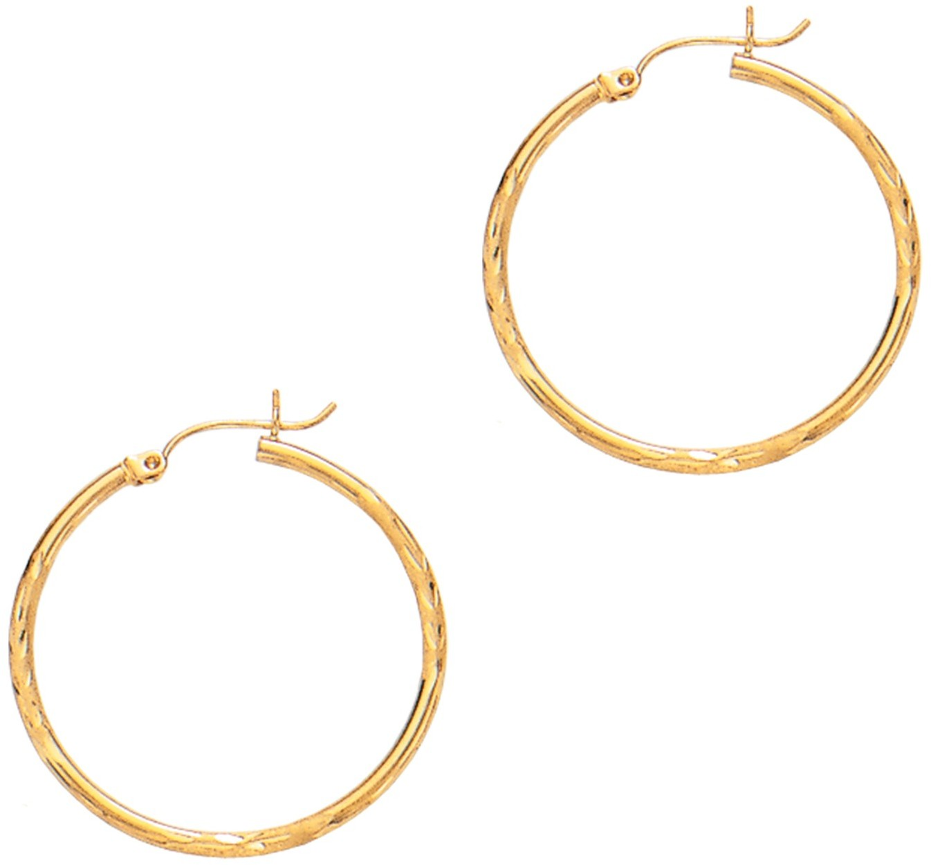 "14K Yellow Gold 2x30mm (0.08""x1.18"") Polished Diamond Cut Round Tube Hoop Fancy Earrings"
