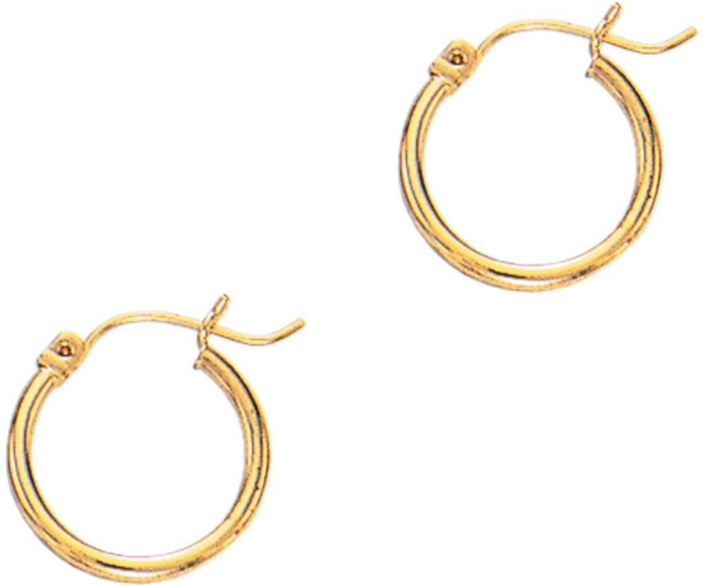 "14K Yellow Gold 2x20mm (0.08""x0.79"") Shiny Super Lite Tube Hoop Earrings"