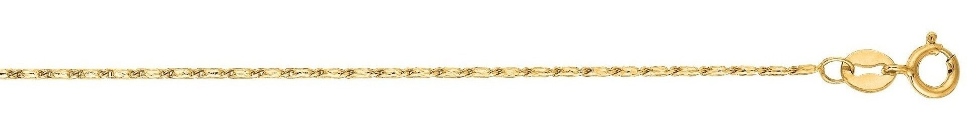"20"" 14K Yellow Gold 1.0mm (0.04"") Polished Diamond Cut Lumina Pendant Chain w/ Lobster Clasp"
