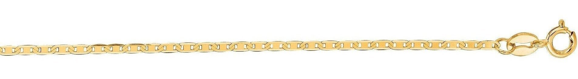 "18"" 14K Yellow Gold 1.2mm (0.05"") Polished Diamond Cut Marina Link Chain w/ Spring Ring Clasp"