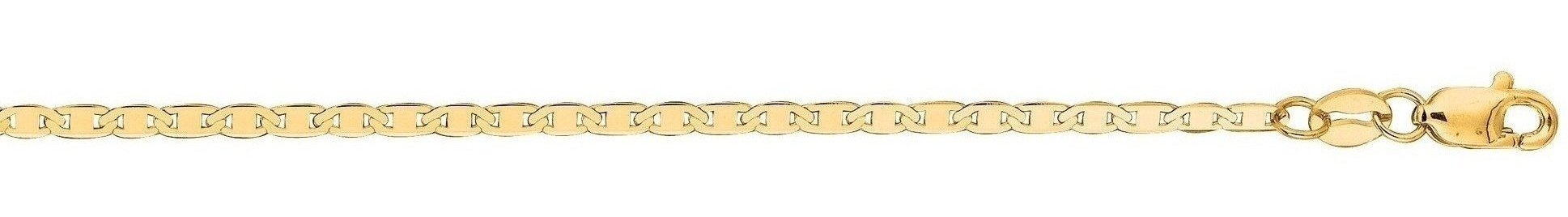 "20"" 14K Yellow Gold 1.7mm (0.07"") Polished Diamond Cut Marina Link Chain w/ Lobster Clasp"