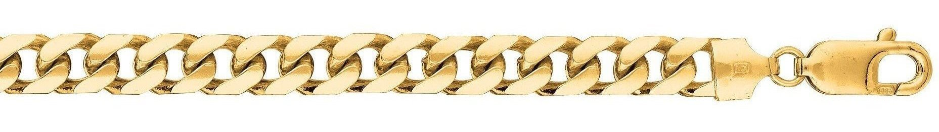 "22"" 14K Yellow Gold 6.7mm (1/4"") Polished Diamond Cut Miami Cuban Link Chain w/ Lobster Clasp"