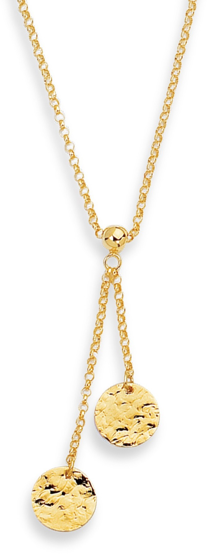 "17"" 14K Yellow Gold 1.5mm (0.06"") Rolo Chain w/ 2 Round Flat Hammered Pendant Lariats Necklace w/ Lobster Clasp"