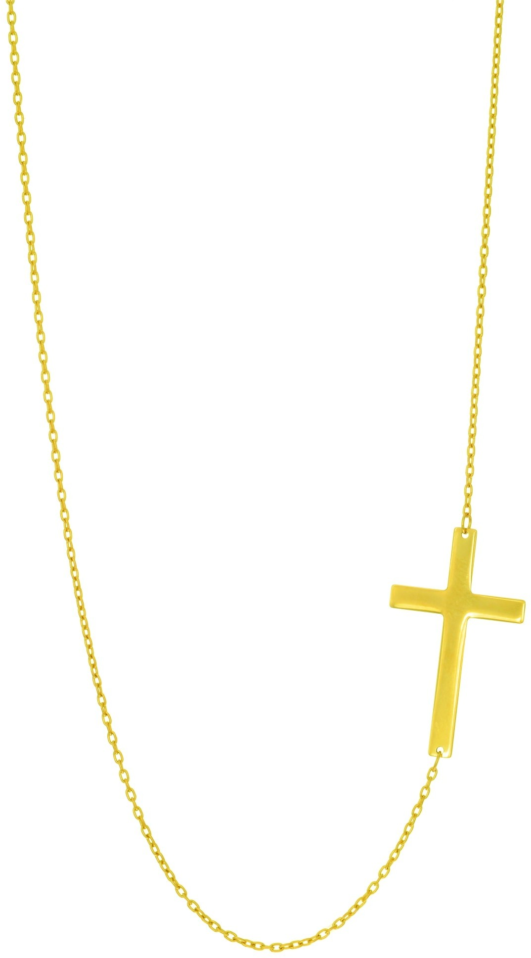 "18"" 14K Yellow Gold 1.05mm (0.04"") Shiny Oval Cable Chain w/ Sideways Cross Necklace"
