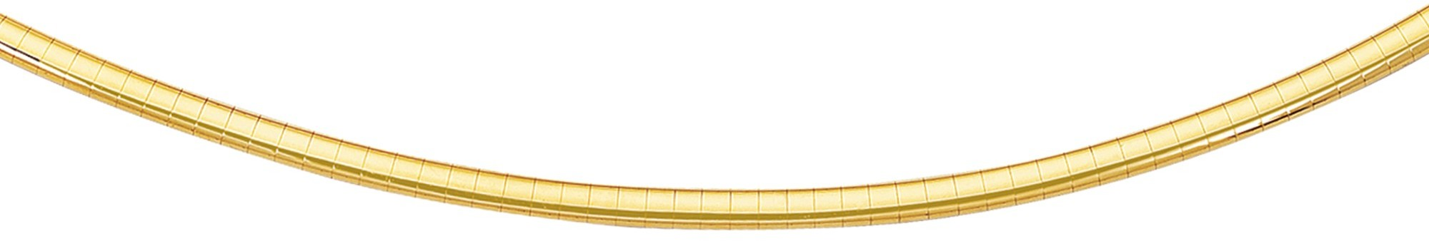 "20"" 14K Yellow Gold 3.0mm (1/8"") Polish Diamond Cut Classic Omega Necklace w/ Box Catch"