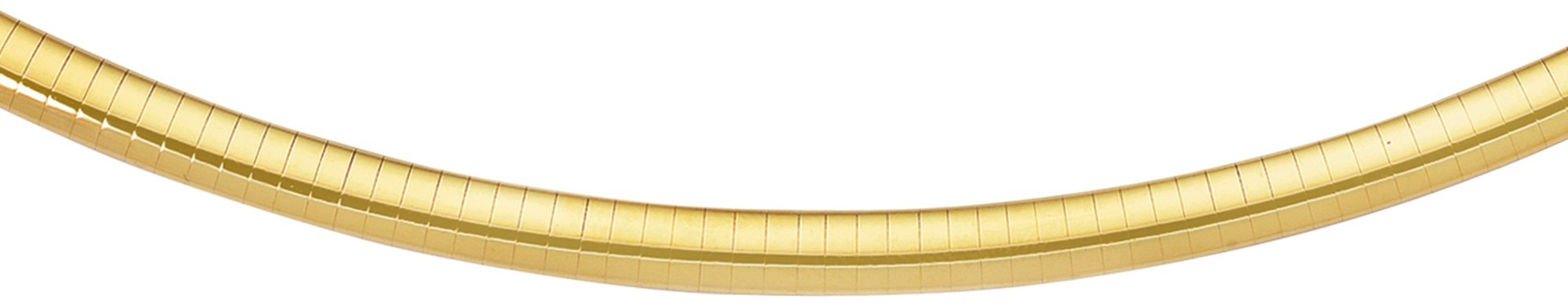 "20"" 14K Yellow Gold 6.0mm (1/4"") Polish Diamond Cut Classic Omega Necklace w/ Box Catch"