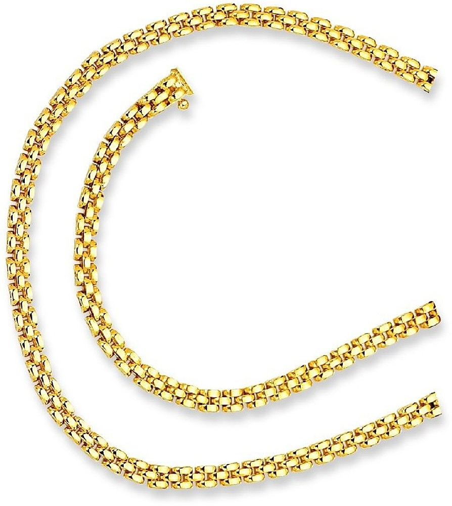 "7"" 14K Yellow Gold 4.0mm (1/6"") Polished 3 Row Panther Chain Link Bracelet w/ Box Catch Clasp"