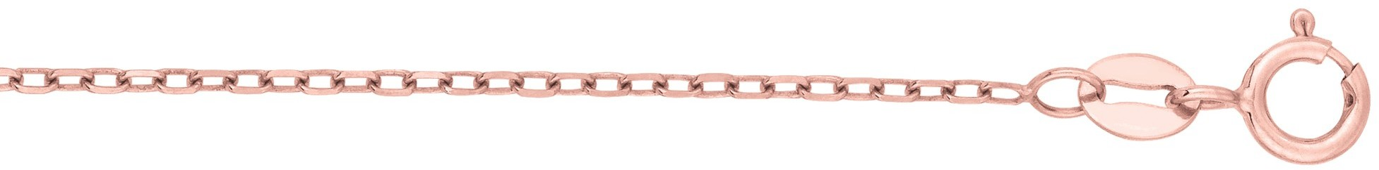 "18"" 14K Rose Gold 1.3mm (0.05"") Polished Diamond Cut Faceted Cable Link Chain w/ Spring Ring Clasp - DISCONTINUED"