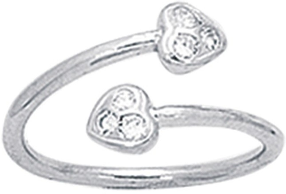 "14K White Gold 1.35mm (0.05"") Polish Round Tube Like 2 Heart w/ Cubic Zirconia (CZ) Bypass Toe Ring"
