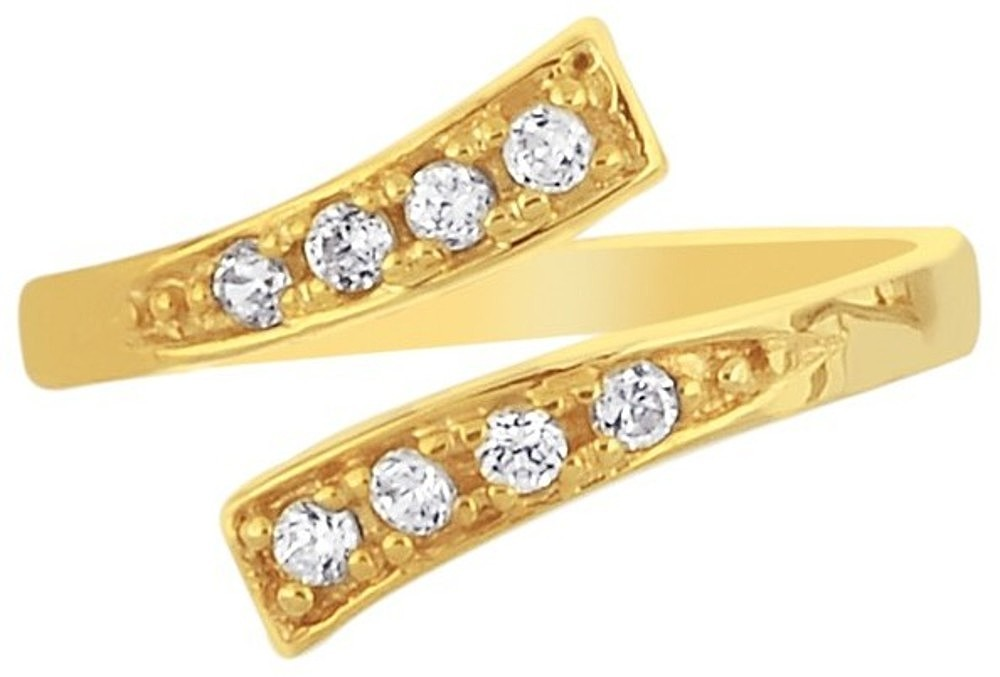 "14K Yellow Gold 2.20mm (0.09"") w/ Clear Round Faceted Cubic Zirconia (CZ) Bypass Toe Ring"
