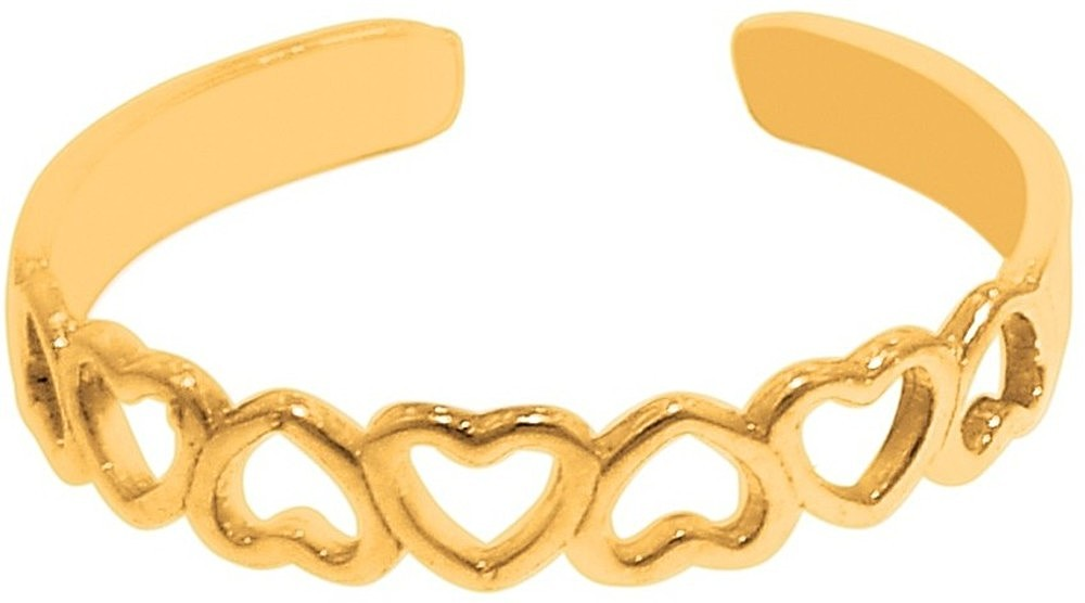 14K Yellow Gold Shiny Heart Cuff Type Toe Ring