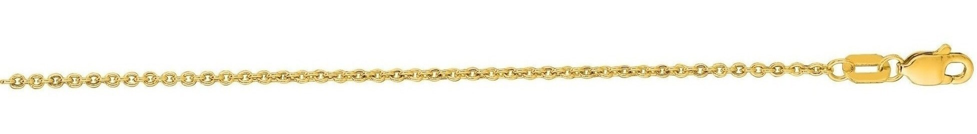 "20"" 14K Yellow Gold 1.5mm (0.06"") Diamond Cut Forsantina Chain w/ Lobster Clasp"