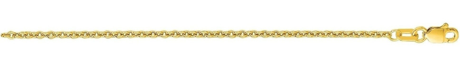"16"" 14K Yellow Gold 1.9mm (0.07"") Diamond Cut Forsantina Chain w/ Lobster Clasp"