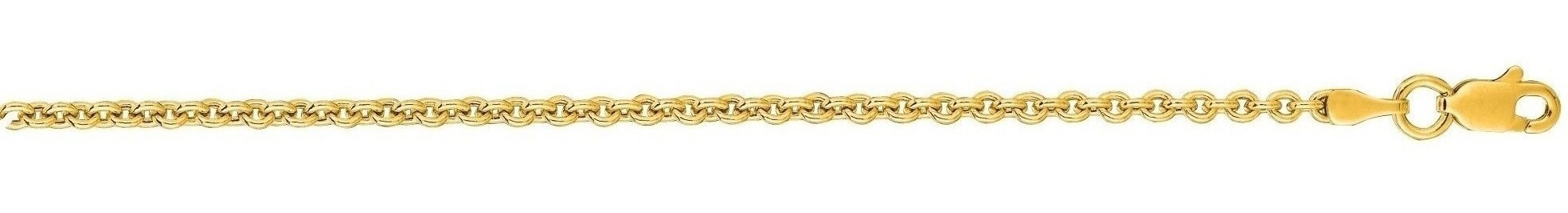 "20"" 14K Yellow Gold 2.2mm (0.09"") Diamond Cut Forsantina Chain w/ Lobster Clasp"