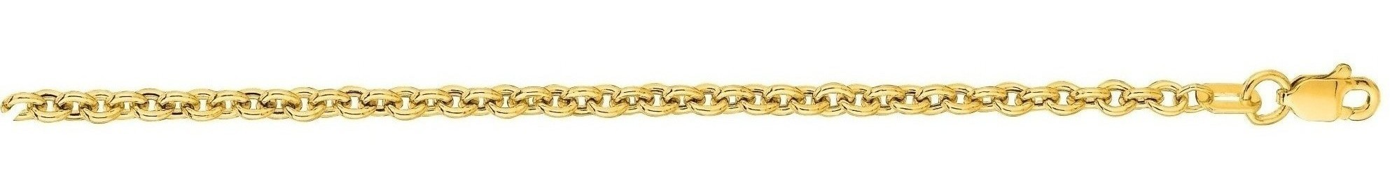 "24"" 14K Yellow Gold 3.0mm (1/8"") Diamond Cut Forsantina Chain w/ Lobster Clasp"