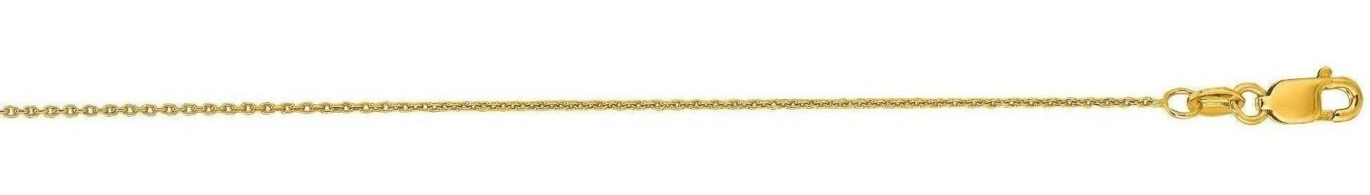 "20"" 14K Yellow Gold 0.7mm (0.03"") Polished Diamond Cut Round Cable Link Chain w/ Lobster Clasp"