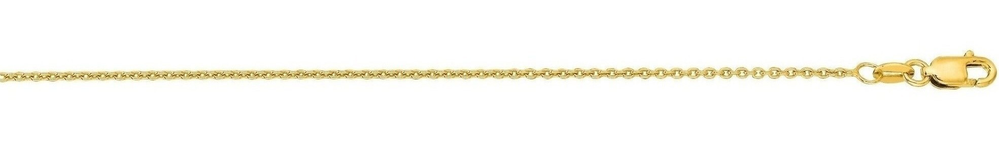 "20"" 14K Yellow Gold 1.2mm (0.05"") Polished Diamond Cut Round Cable Link Chain w/ Lobster Clasp"