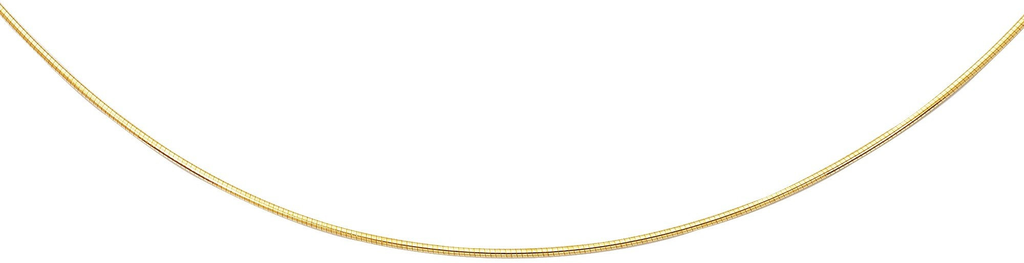 "20"" 14K Yellow Gold 1.5mm (0.06"") Polish Diamond Cut Round Omega Necklace w/ Screw Off Lock & Pear Shape Clasp"