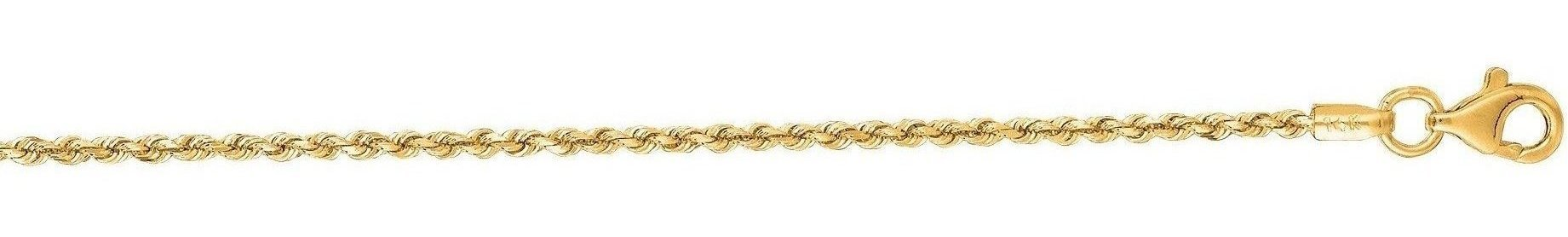 "22"" 14K Yellow Gold 1.5mm (0.06"") Polished Solid Diamond Cut Royal Rope Chain w/ Pear Shape Clasp"