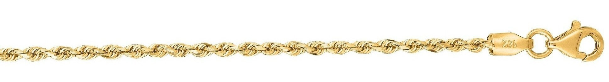 "10"" 14K Yellow Gold 2.0mm (0.08"") Polished Solid Diamond Cut Royal Rope Chain w/ Pear Shape Clasp"