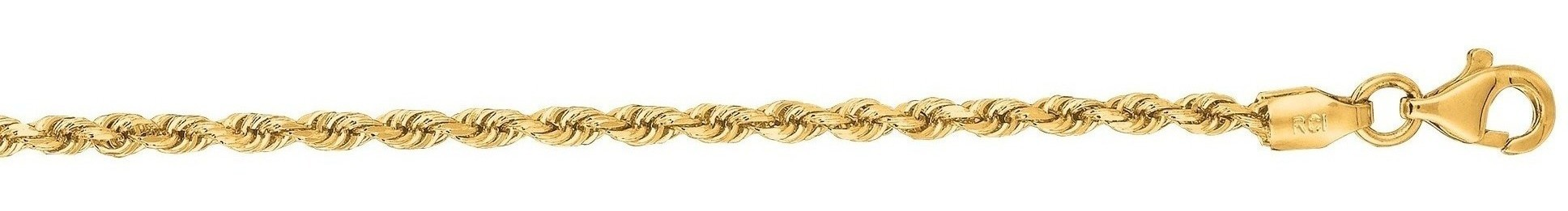 "22"" 14K Yellow Gold 2.5mm (1/10"") Polished Solid Diamond Cut Royal Rope Chain w/ Pear Shape Clasp"