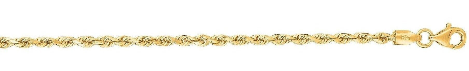"22"" 14K Yellow Gold 2.5mm (1/10"") Shiny Solid Diamond Cut Royal Rope Chain w/ Lobster Clasp"