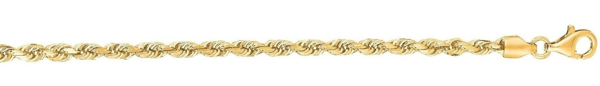 "24"" 14K Yellow Gold 3.0mm (1/8"") Polished Solid Diamond Cut Royal Rope Chain w/ Pear Shape Clasp"