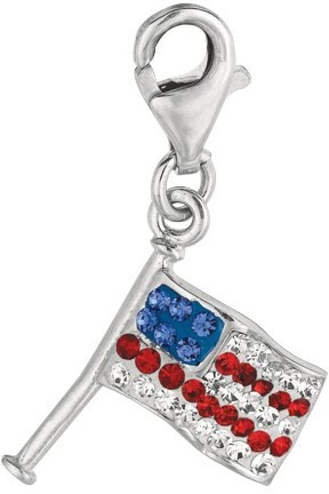 Rhodium Plated Red & White & Blue Crystal American Flag Charm 925 Sterling Silver