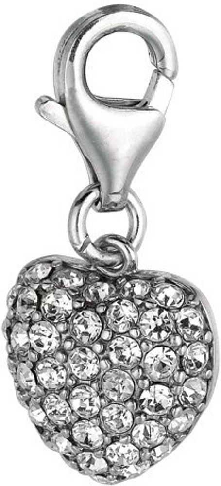 Rhodium Plated w/ Clear Crystal Heart Charm 925 Sterling Silver