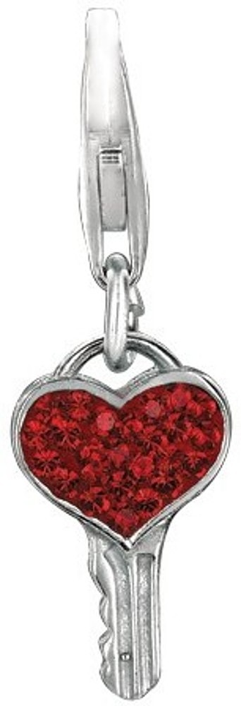 Rhodium Plated Red Crystal Heart Key Charm 925 Sterling Silver