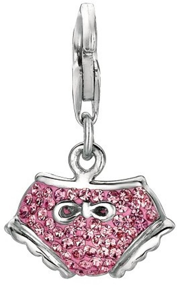 Rhodium Plated w/ Pink Crystal Baby Diaper Charm 925 Sterling Silver