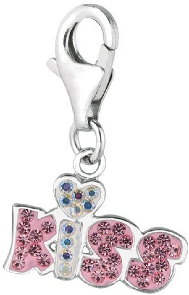 "Rhodium Plated Clear & pink Crystal ""kiss"" Charm 925 Sterling Silver"