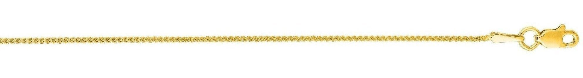 "24"" 14K Yellow Gold 1.0mm (0.04"") Polished Round Wheat Chain w/ Lobster Clasp"