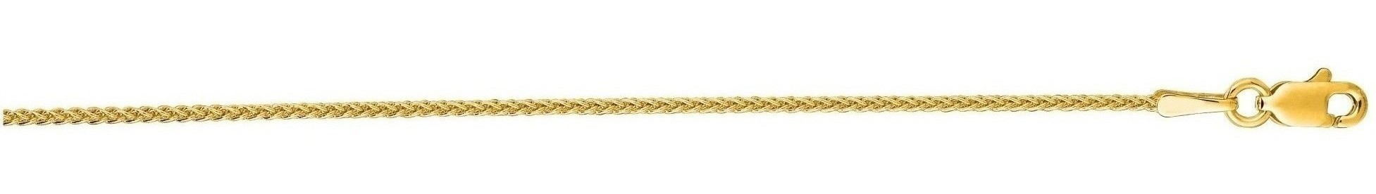 "24"" 14K Yellow Gold 1.2mm (0.05"") Polished Diamond Cut Round Wheat Chain w/ Lobster Clasp"