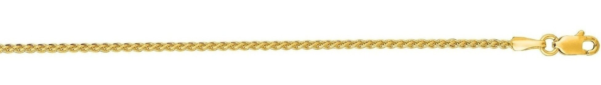 "24"" 14K Yellow Gold 1.5mm (0.06"") Polished Diamond Cut Round Wheat Chain w/ Lobster Clasp"