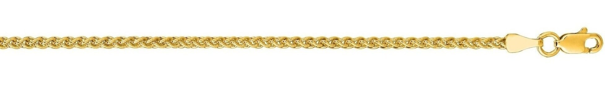 "7"" 14K Yellow Gold 2.1mm (0.08"") Polished Round Diamond Cut Wheat Chain w/ Lobster Clasp"