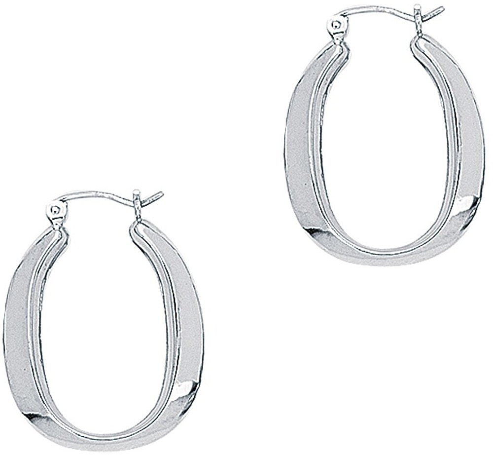 14K White Gold Polished Square Tube Oval Like Hoop Symbolic Earrings