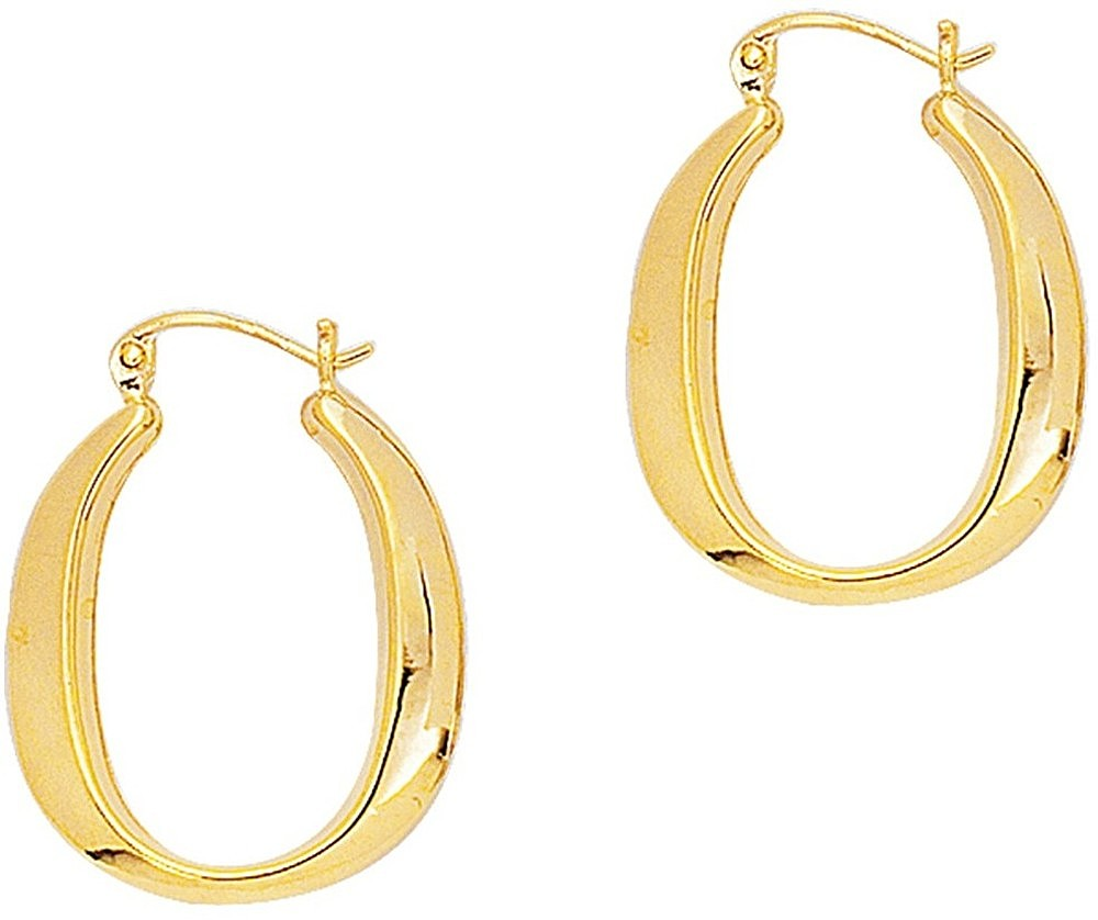 14K Yellow Gold Polished Square Tube Oval Like Hoop Symbolic Earrings