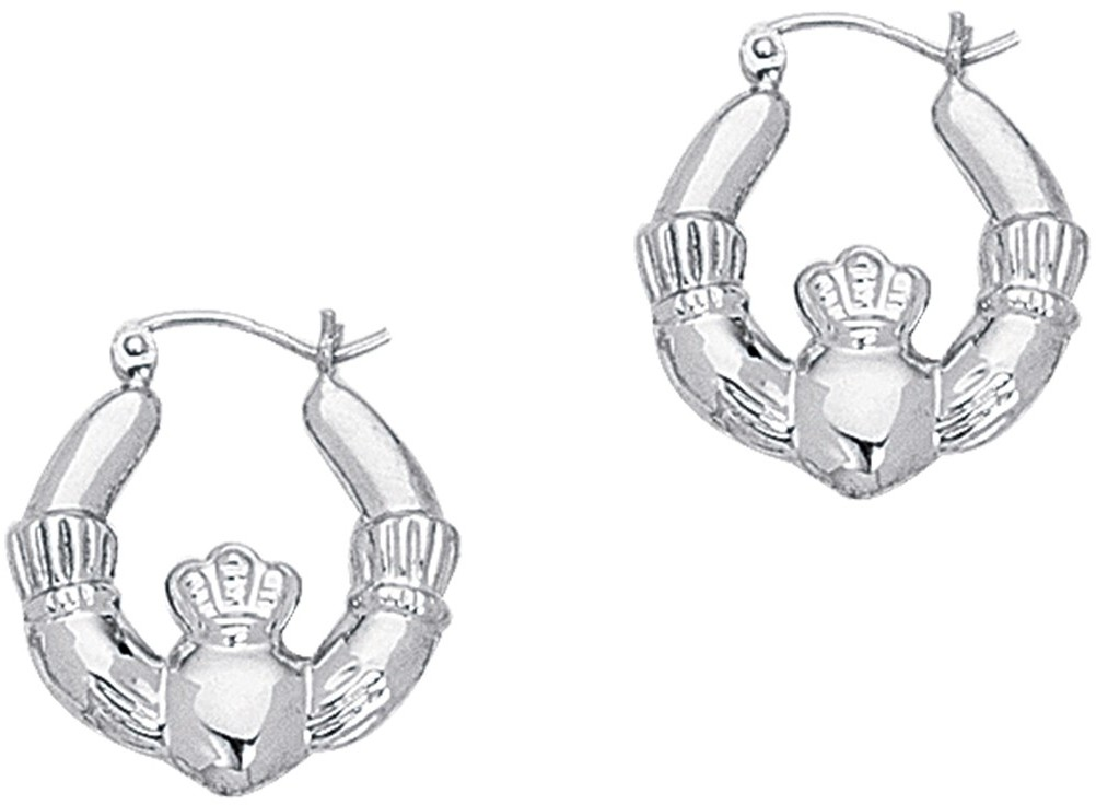 14K White Gold Polished Claddagh Hoop Symbolic Earrings